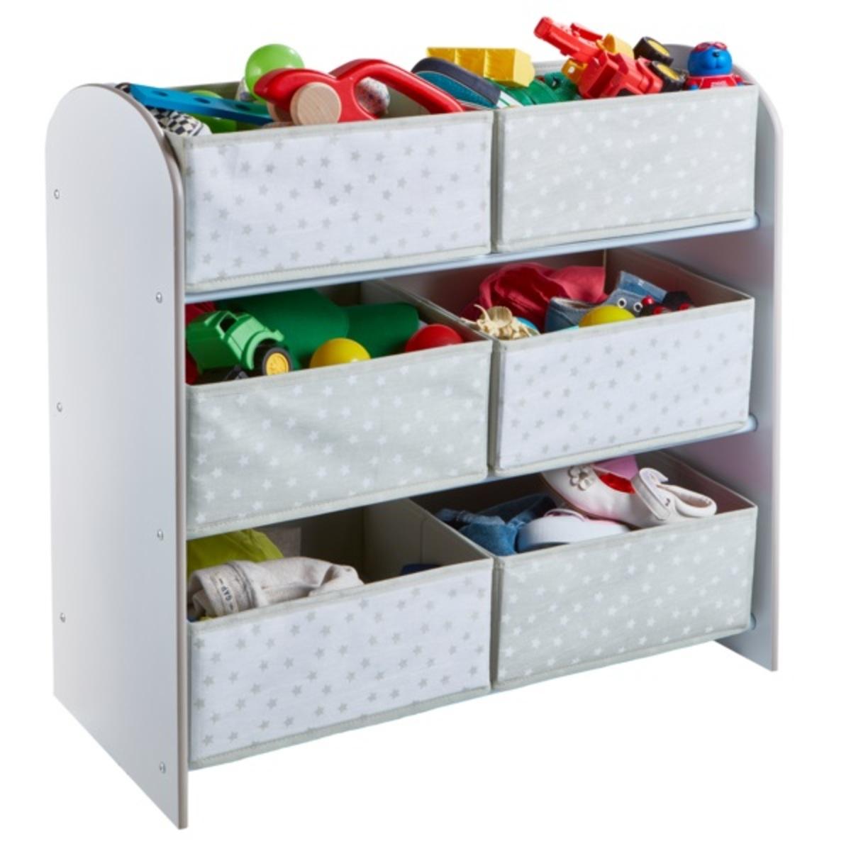 Organizér na hračky s šedými a bielymi boxy