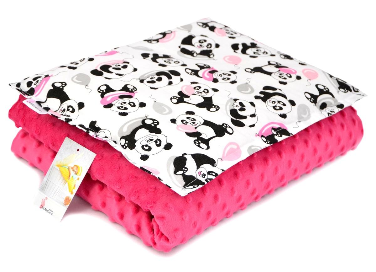 Detská deka a vankúš M Panda - fuchsiová 80x60 cm + 35x25 cm