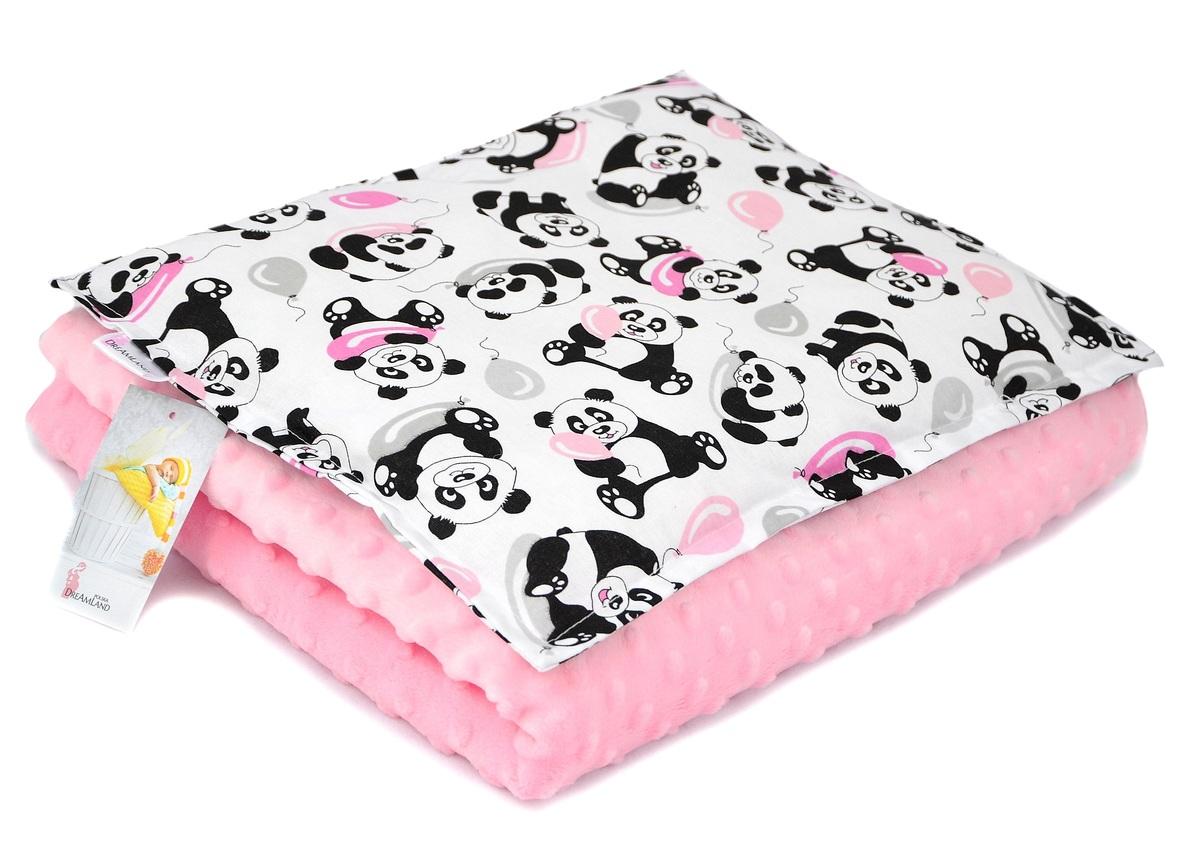 Detská deka a vankúš M Panda - ružová