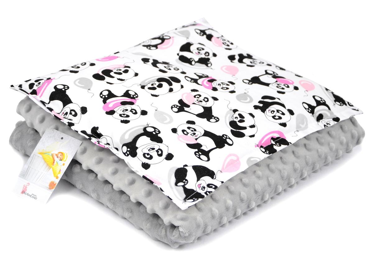 Detská deka a vankúš M Panda - sivá