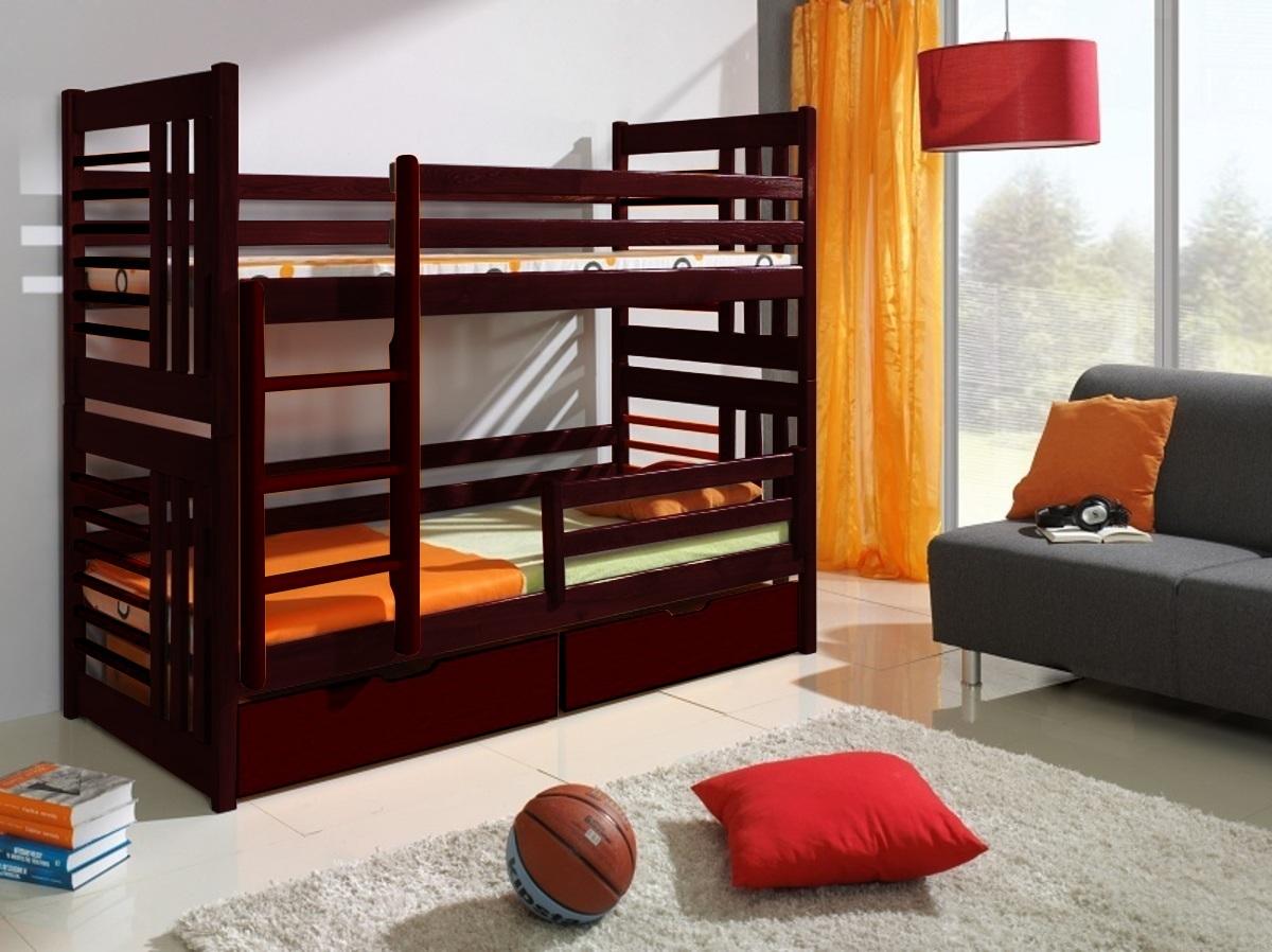 Detská posteľ Ourbaby červená hnedá 180x80 cm