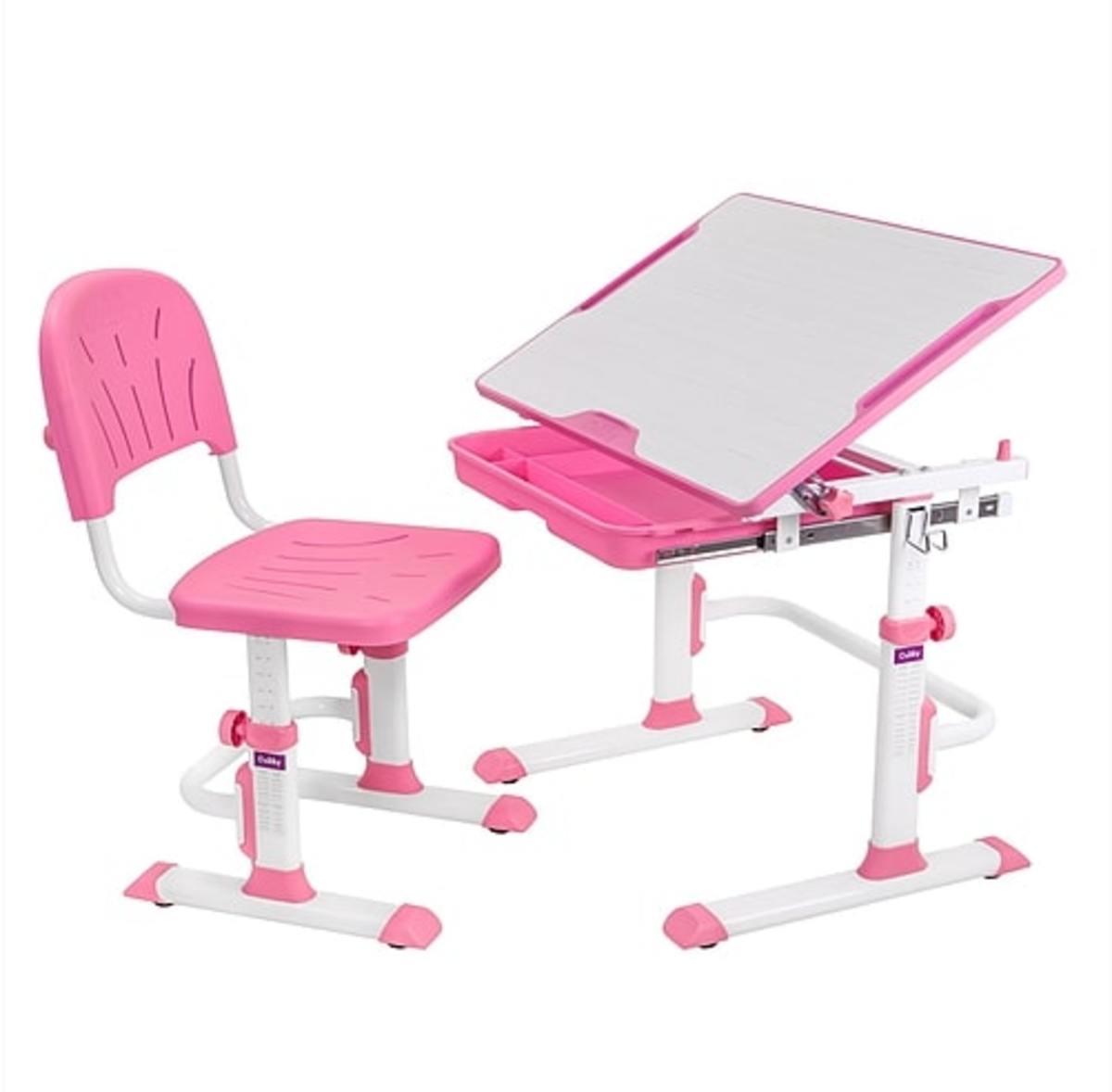 Detský písací stôl + stoličky Cubby Lupin - ružový