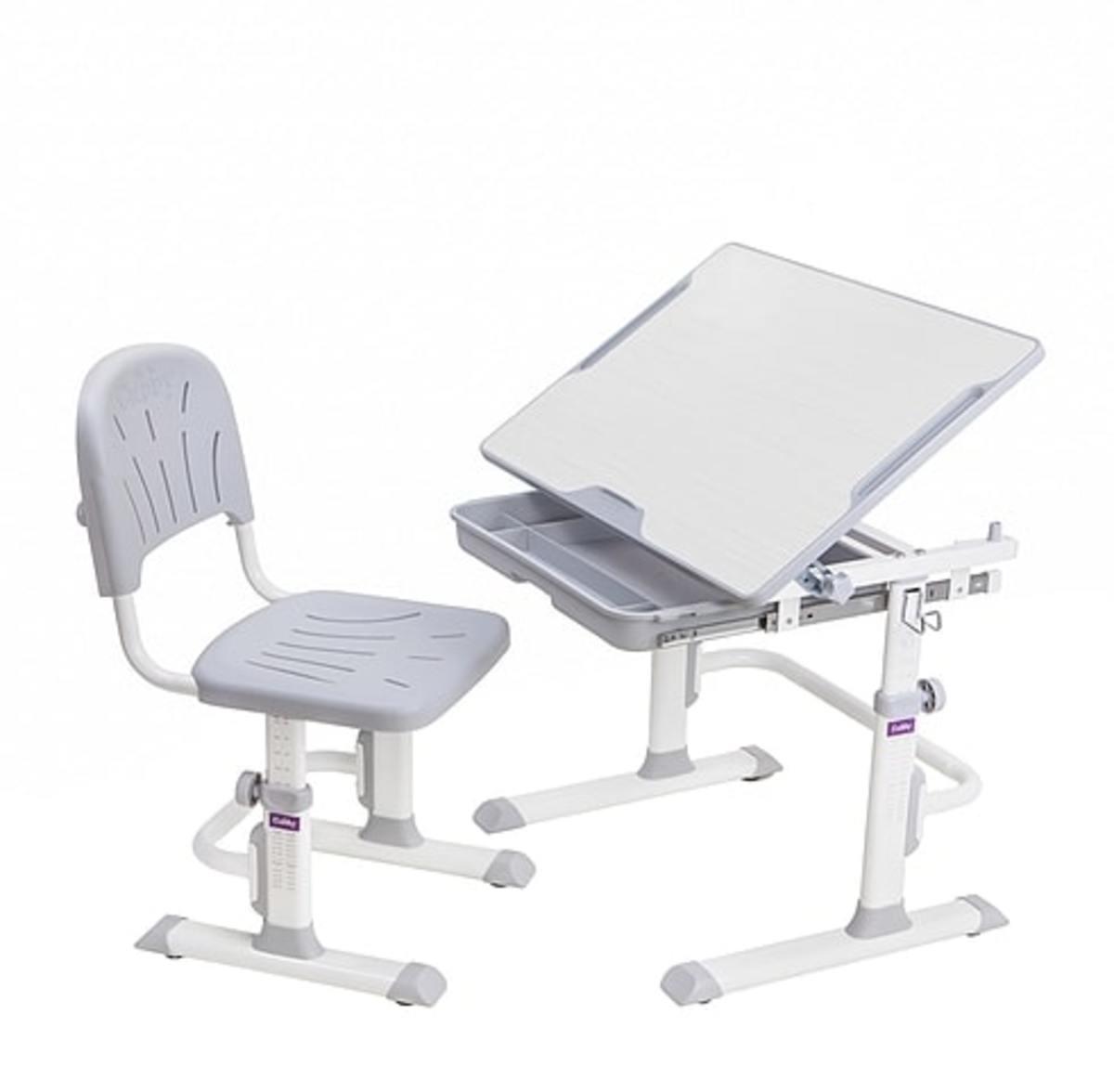 Detský písací stôl + stoličky Cubby Lupin - šedý
