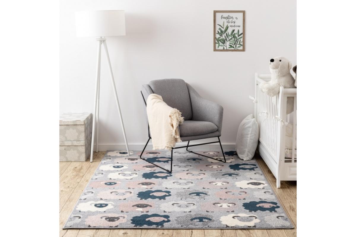 Detský koberec Ovečky - šedý 160 x 220 cm