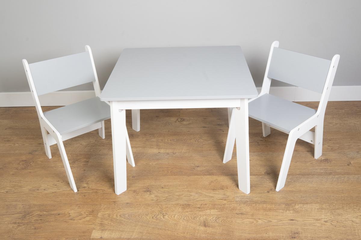 Ourbaby - Detský stolček a stoličky - šedo-biela Grey & White