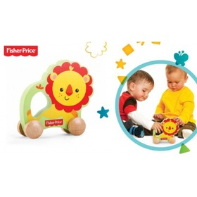 Fisher Price - drevený lev na kolieskach , Fisher Price